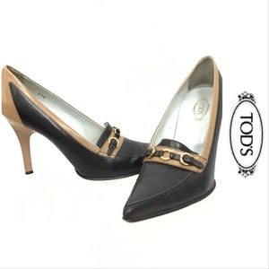 Tod's Brown and Tan Leather Heels w/ Gold Hardware
